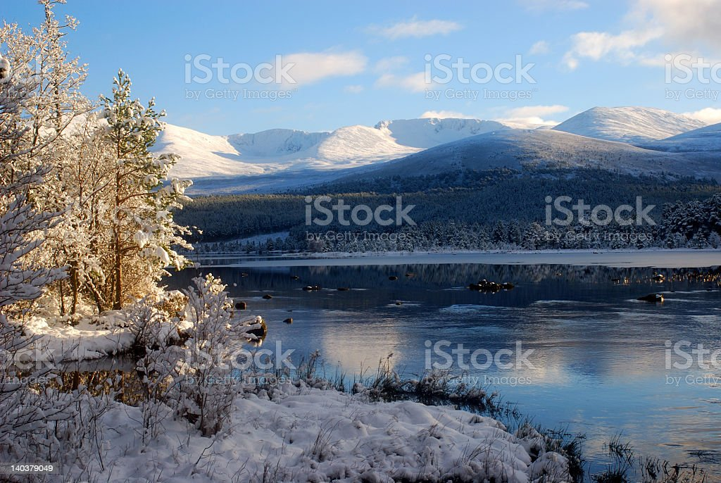 Cairngorm Mountains in Winter stock photo