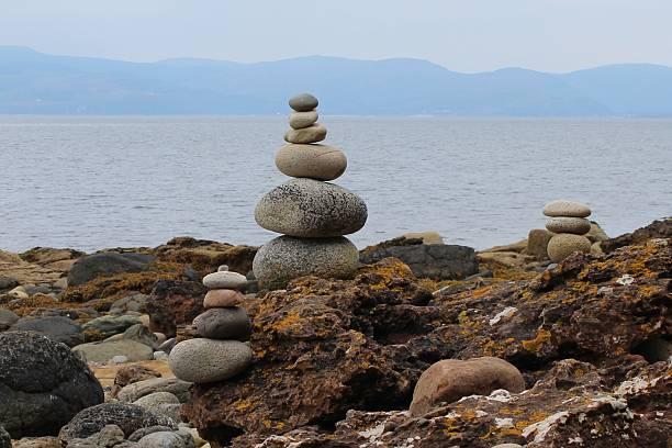 Cairns on the Scottish coast stock photo