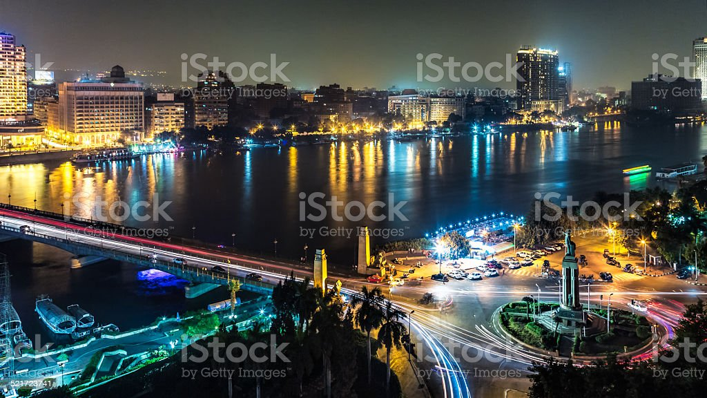 Cairo at night stock photo