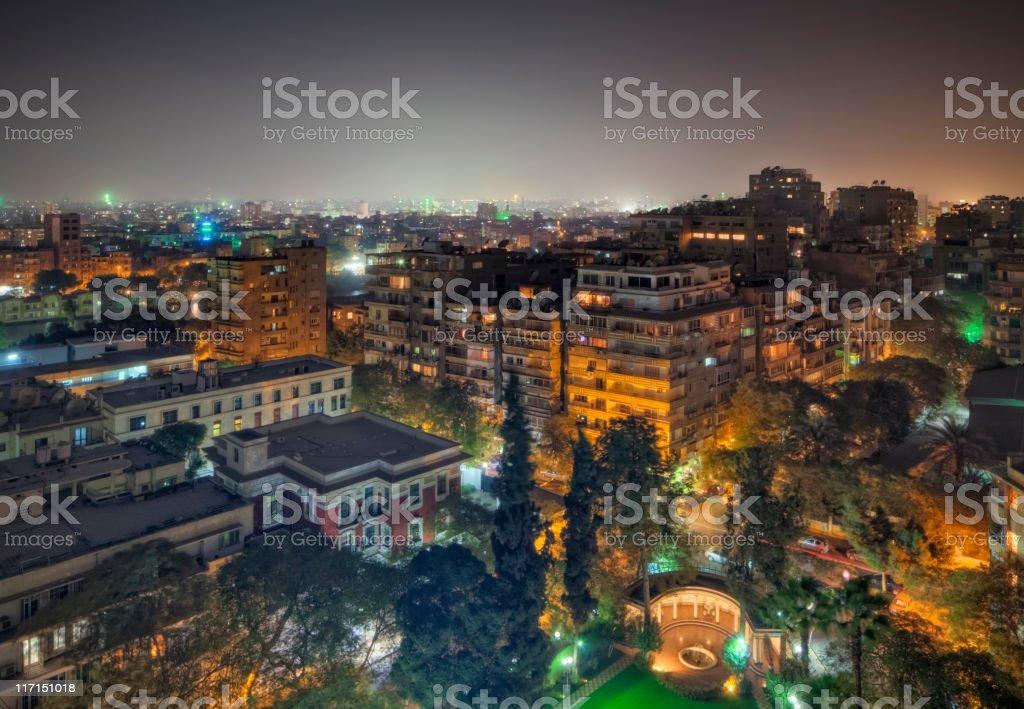 Cairo by night - Zamalek district on Gezira Island / Egypt stock photo