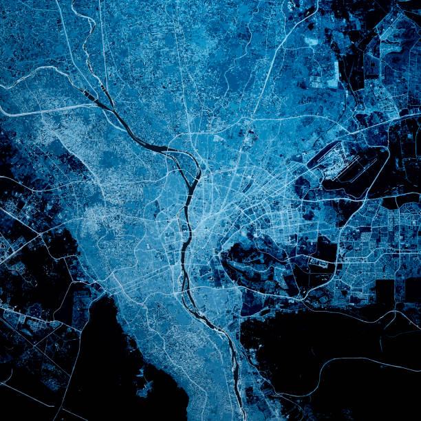 Kairo Ägypten 3D Render Karte Blau Top Ansicht Jul 2019 – Foto