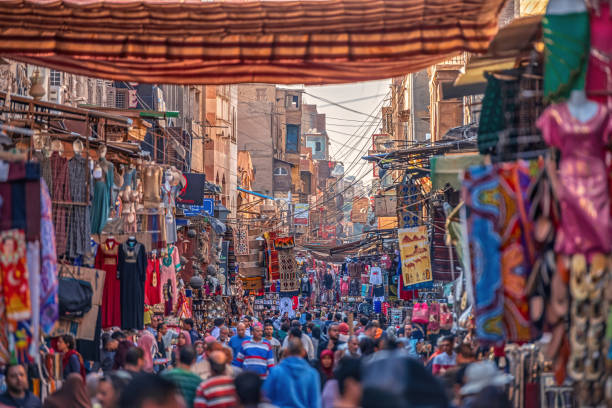 22/11/2018 Cairo, Egypt, overflowing streets of the African capital and chaotic trading in the bazaar stock photo