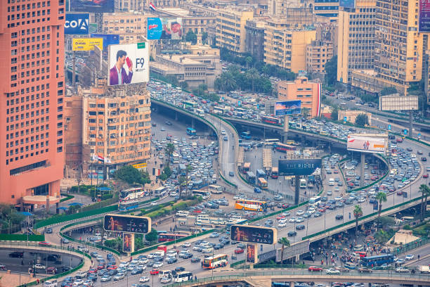11/18/2018 Cairo, Egypt, panoramic view of the central and business part of the city from the observation deck at the highest tower of the African capital at sunset stock photo