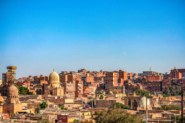 18/11/2018 Cairo, Egypt, view of the panorama of the roof of a dead city in sunny day stock photo