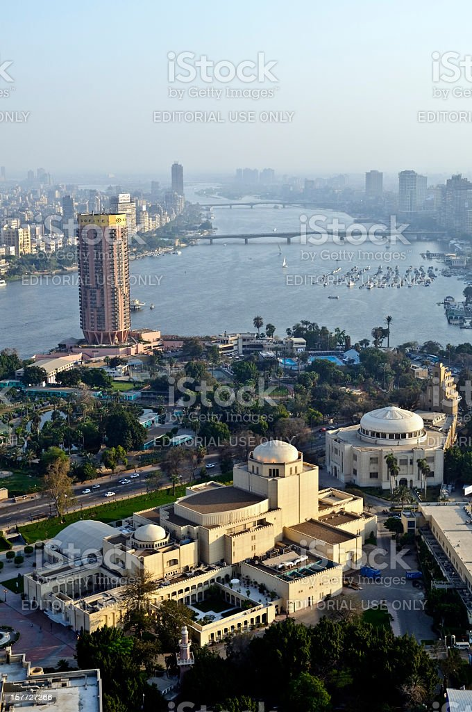 Cairo Opera House and Nile River stock photo