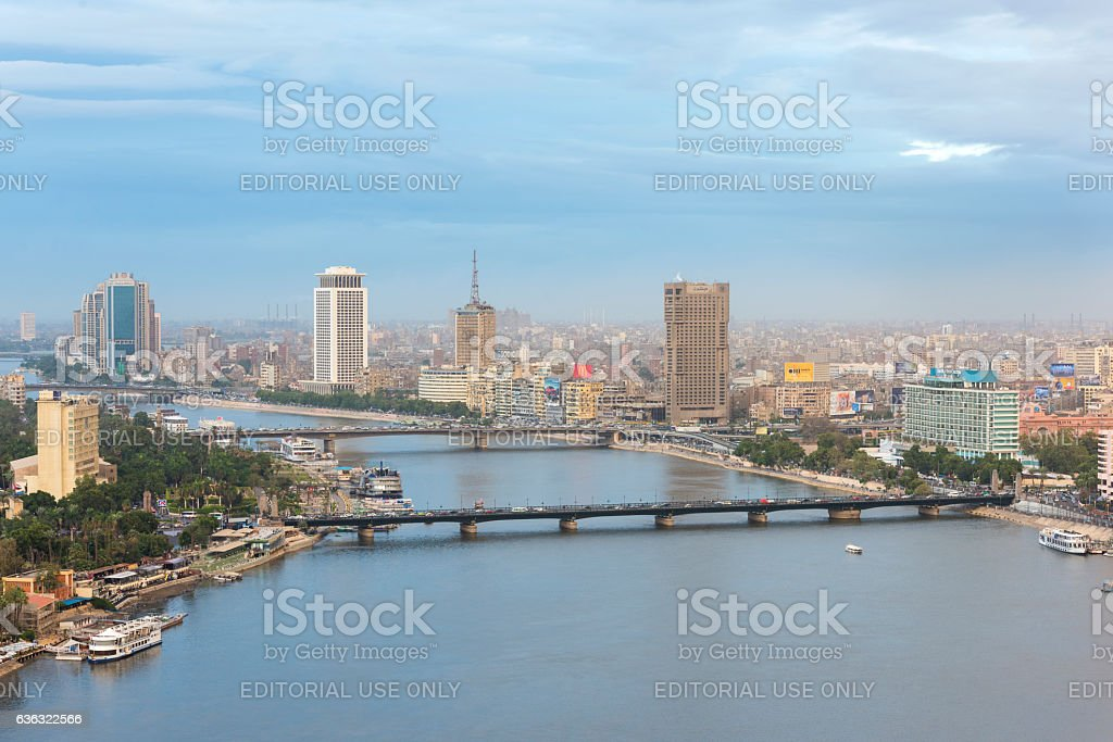 Cairo Skyline along Nile River stock photo