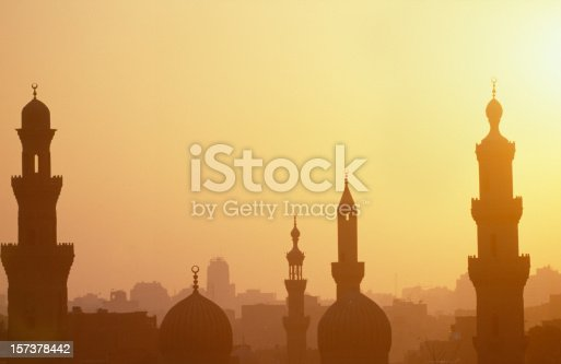 Cairo sunset with romantic towers