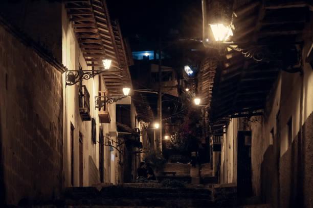 Cajamarca street at night stock photo