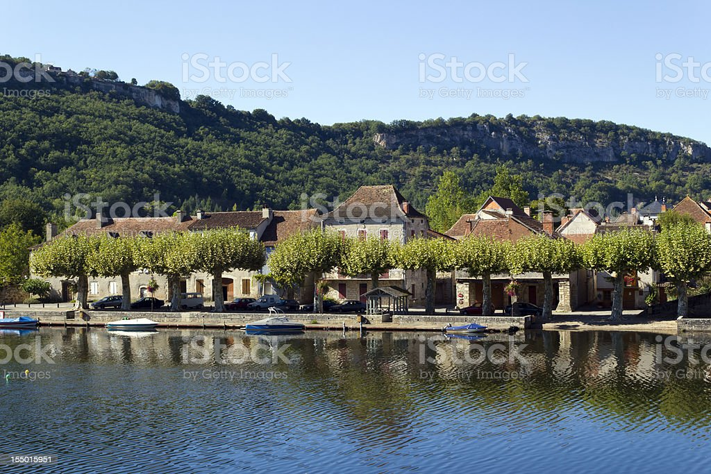 Cajarc and  river in the Lot Valley, Quercy, France, Europe stock photo