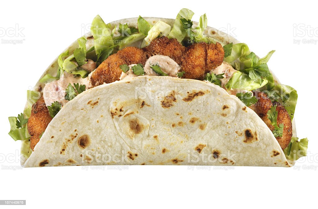 Cajun Fish Taco, isolated on white stock photo