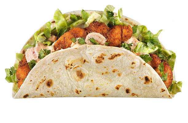 Cajun Fish Taco, isolated on white  taco stock pictures, royalty-free photos & images