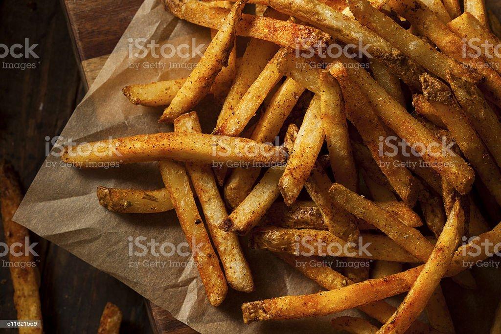 Cajun Seasoned French Fries stock photo