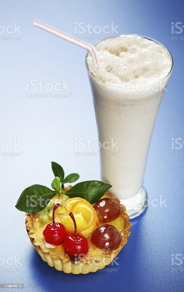 Cake and a milkshake royalty-free stock photo
