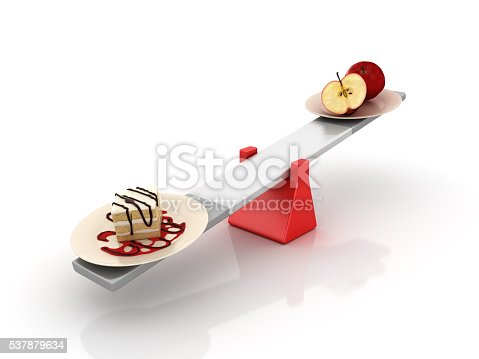 istock Cake and Fruit Balancing on a Seesaw 537879634