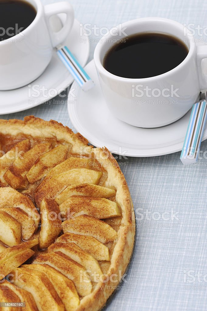 Cake Apple Pie with Coffee Cups royalty-free stock photo