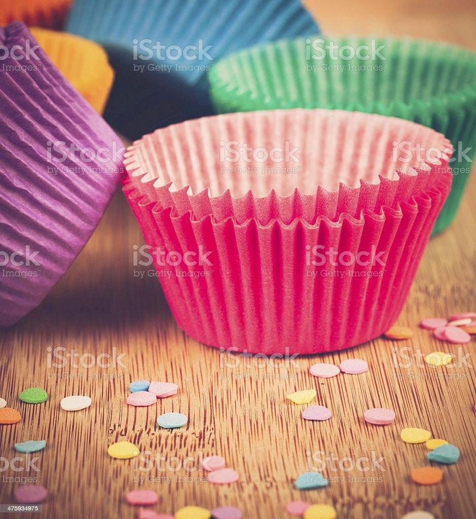 Cake Baking Supplies: Cupcake Liners stock photo
