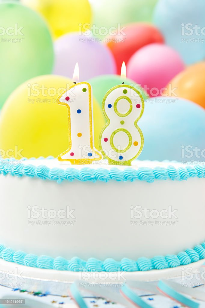 Cake Celebrating 18th Birthday stock photo