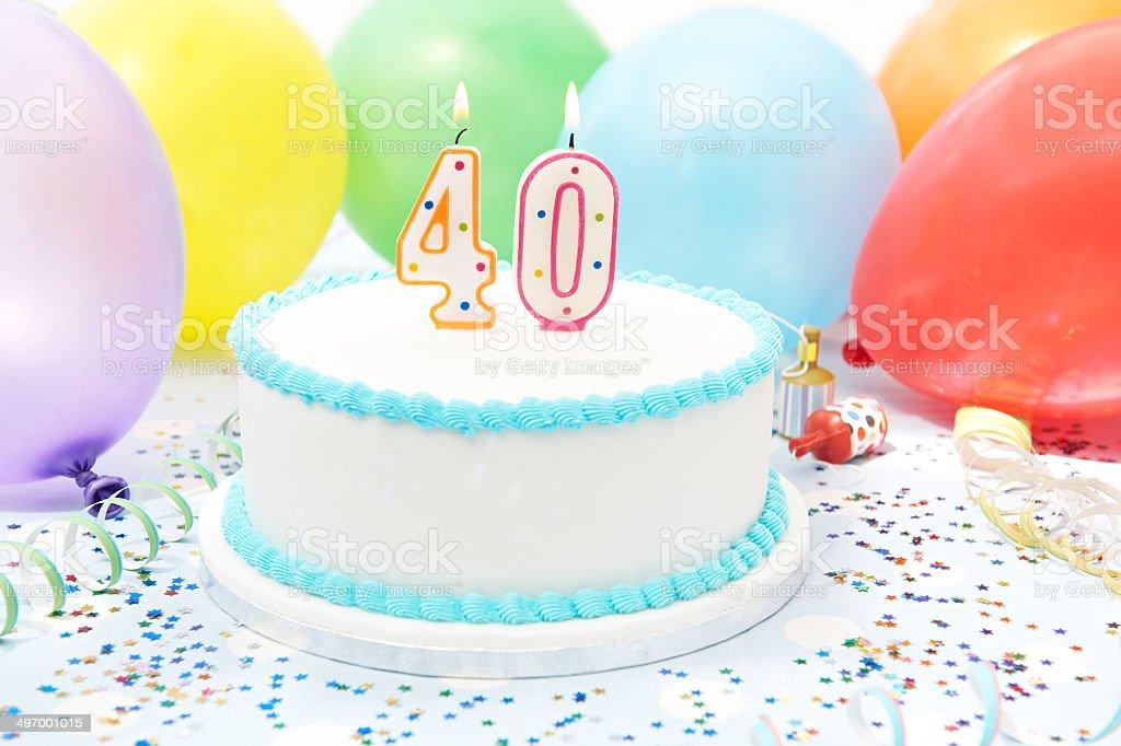 Cake Celebrating 40th Birthday stock photo