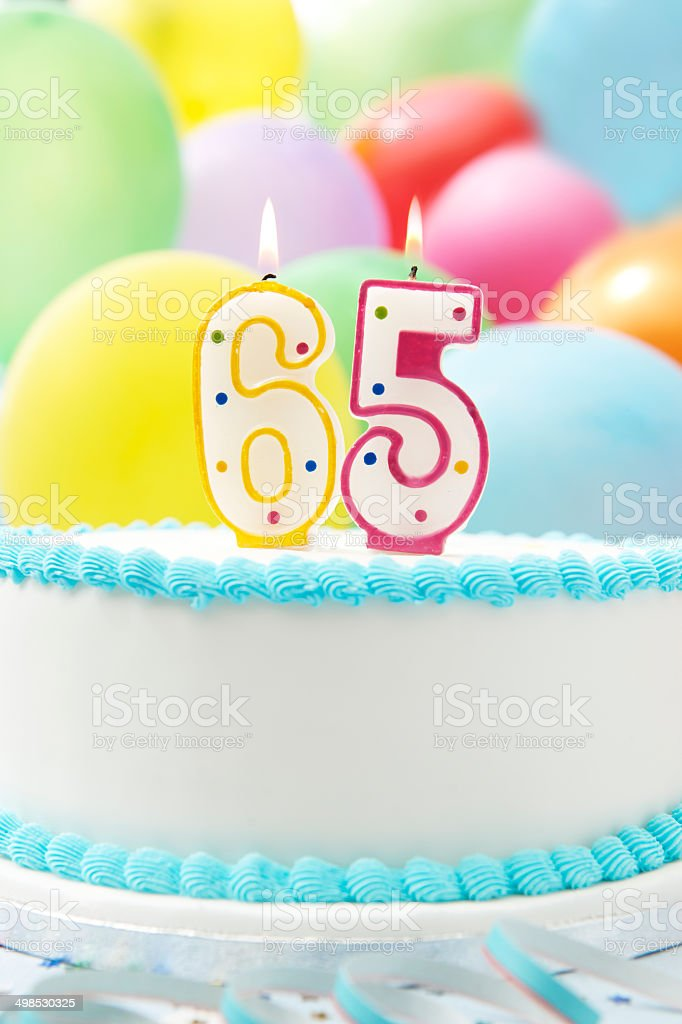 Cake Celebrating 65th Birthday stock photo