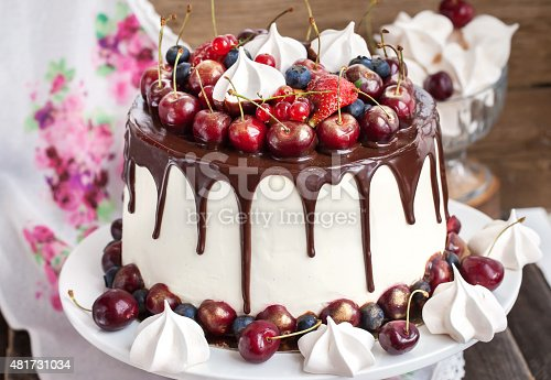 480972628 istock photo Cake decorated with chocolate, meringues and fresh berries 481731034