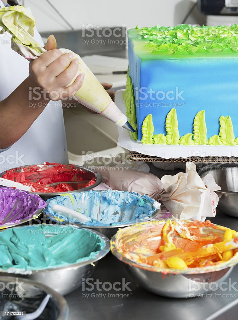 Cake Decorating in a Bakery stock photo