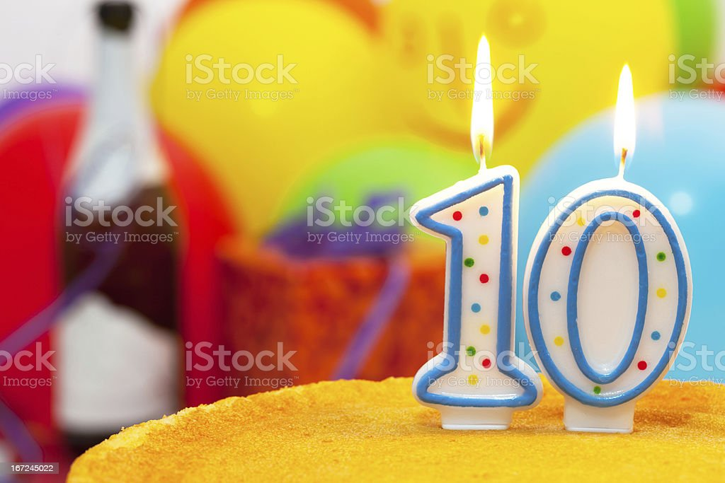 Cake for 10st birthday stock photo