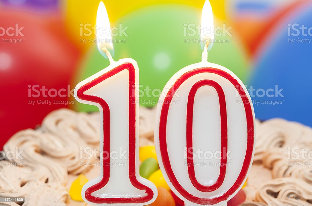 Cake for 10st  birthday. stock photo