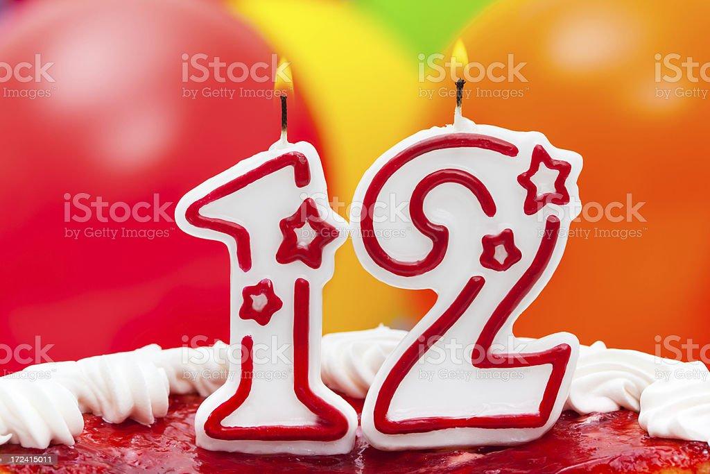 Cake for 12th birthday stock photo