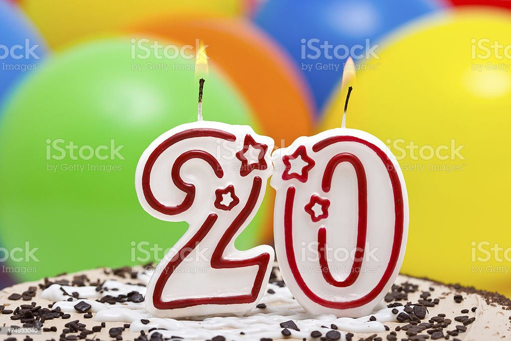 Cake for 20st  birthday. stock photo