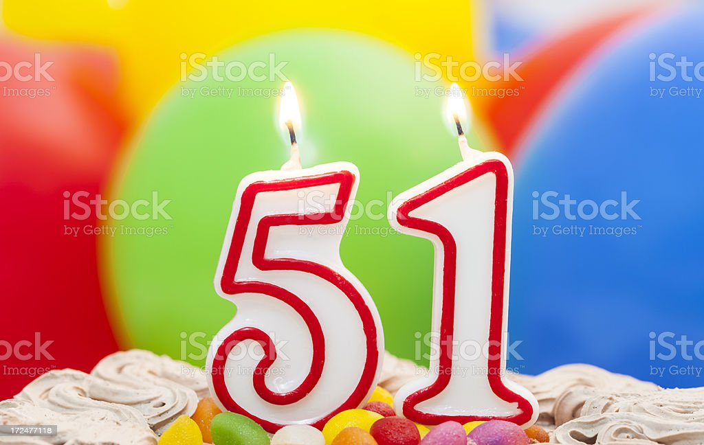Cake For 51st Birthday Royalty Free Stock Photo