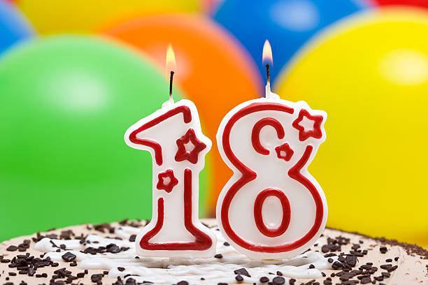 cake for eighteenth birthday - number 18 stock photos and pictures