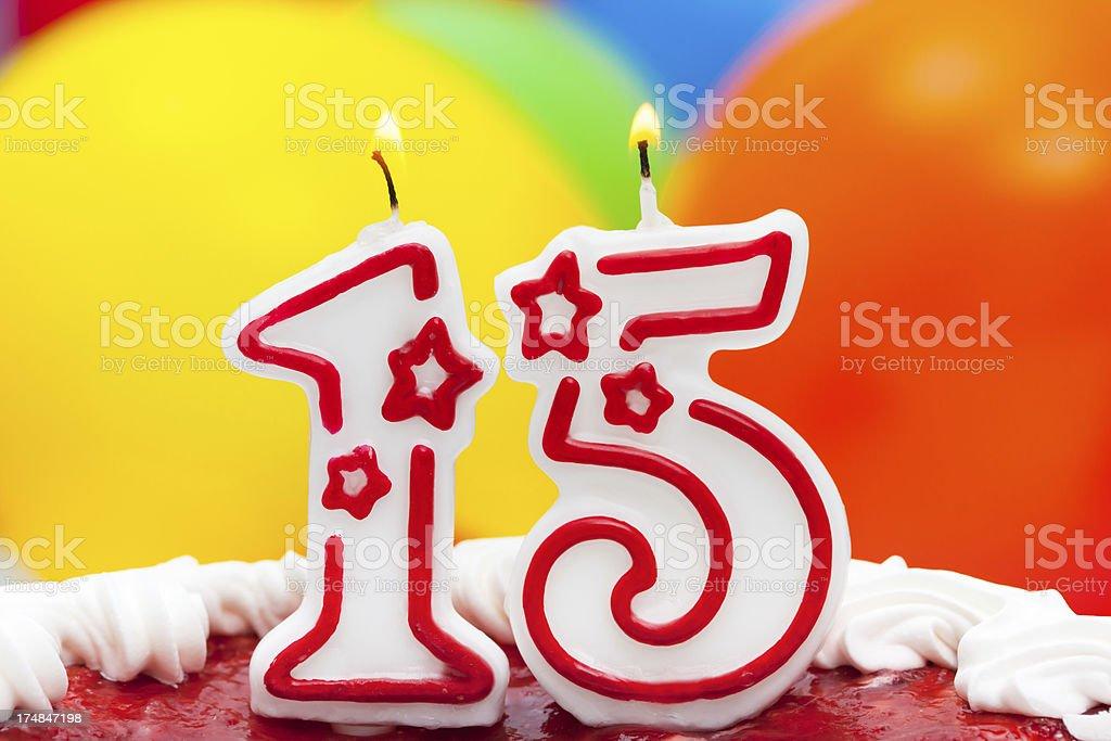 Cake for fifteenth birthday stock photo