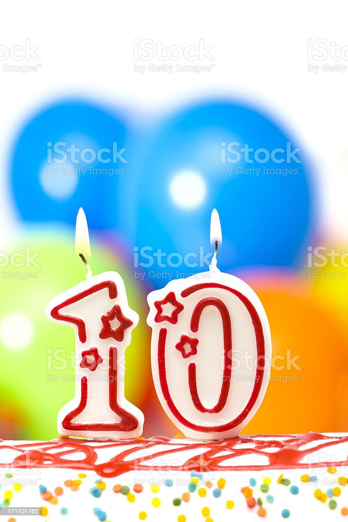 Cake for tenth birthday stock photo