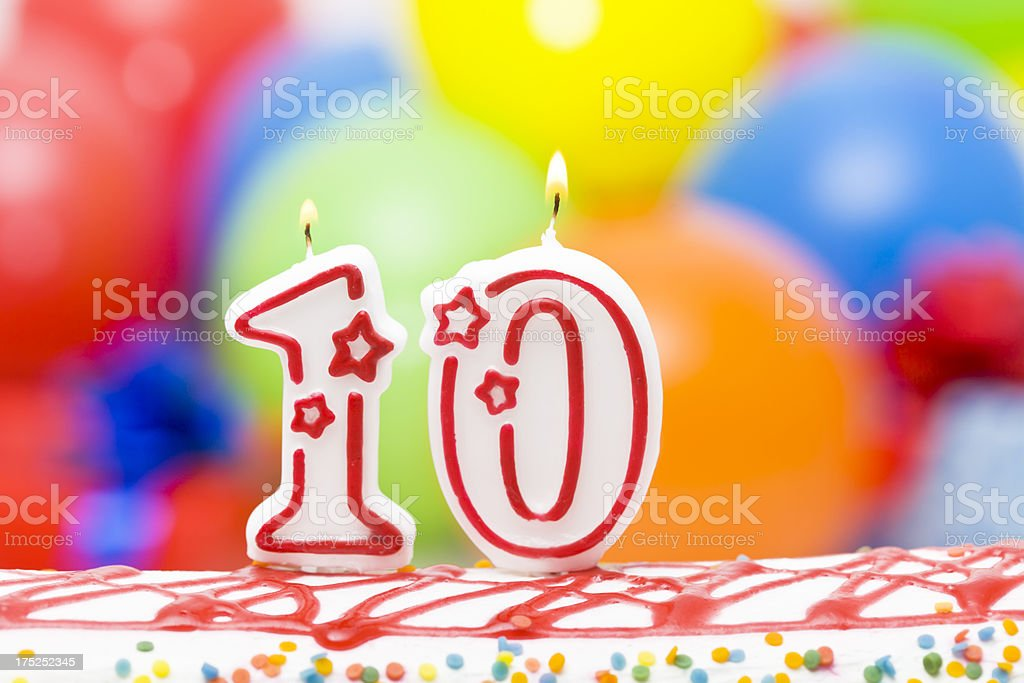 Cake for tenth birthday royalty-free stock photo