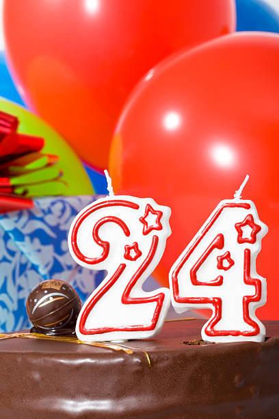 Cake for twenty-fourth birthday stock photo
