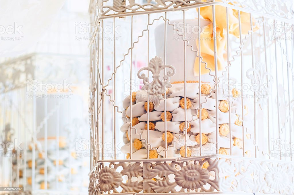 Cake in cage stock photo