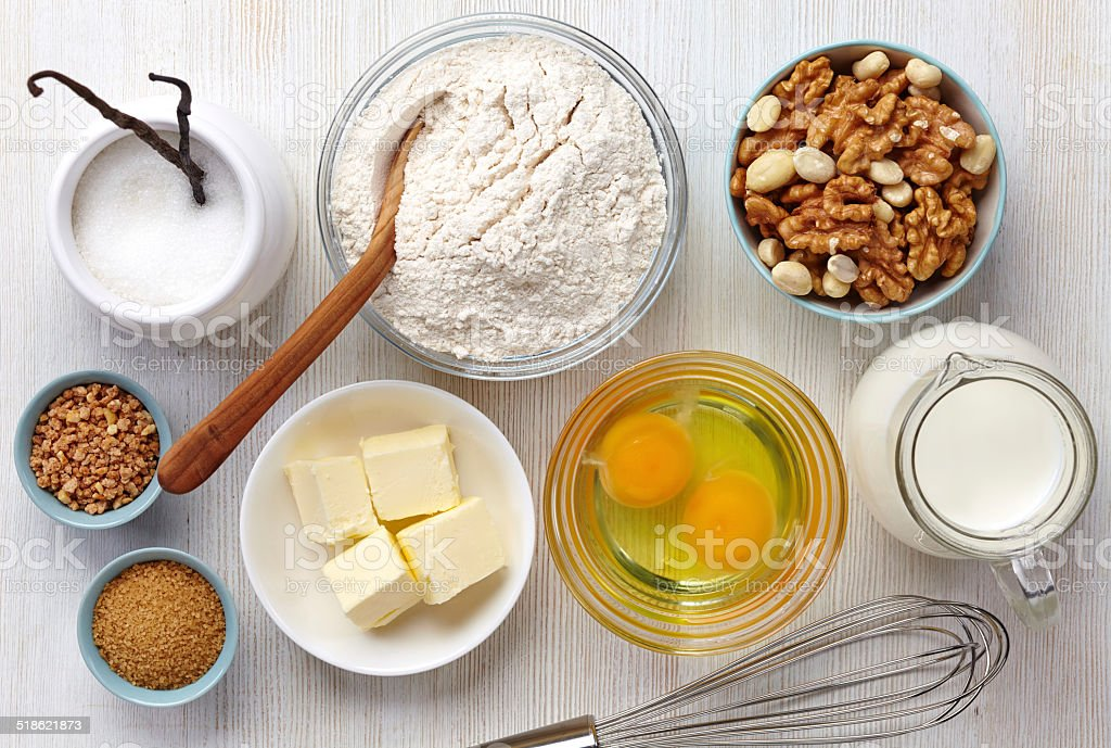 Cake ingredients stock photo