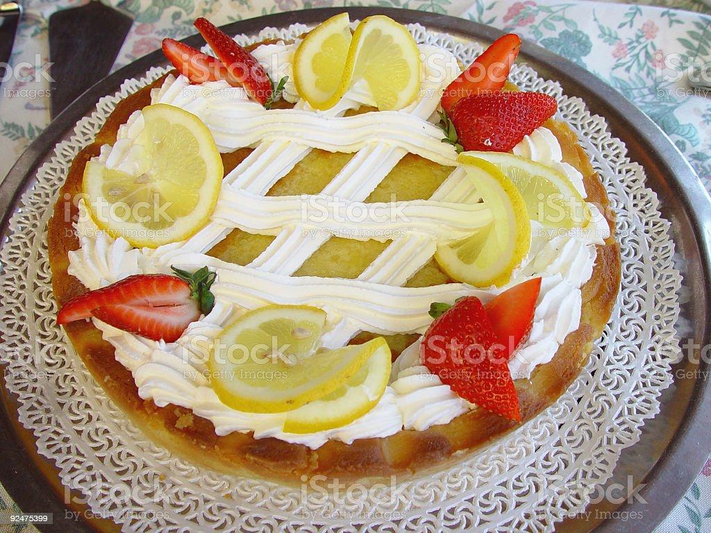 cake lemon and strawberry royalty-free stock photo