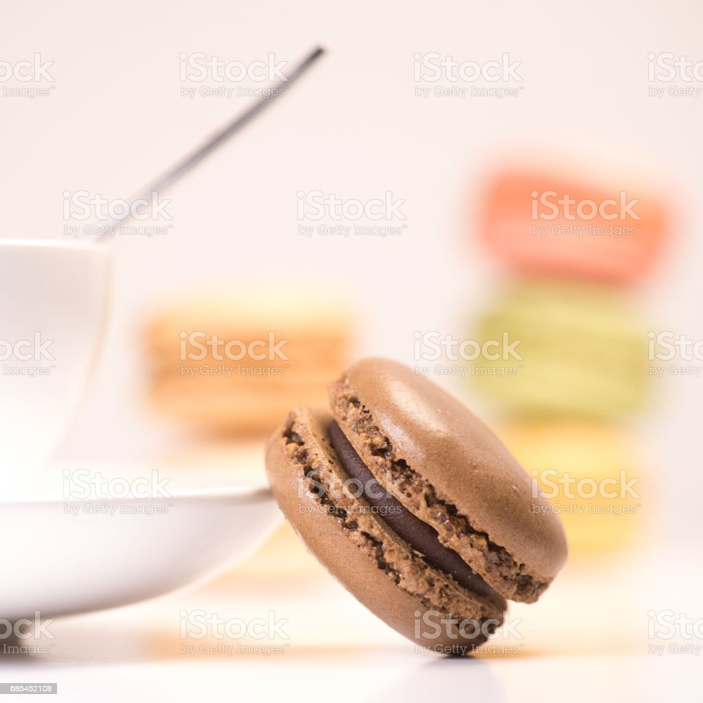 Cake macaron or macaroon isolated on white background, sweet stock photo
