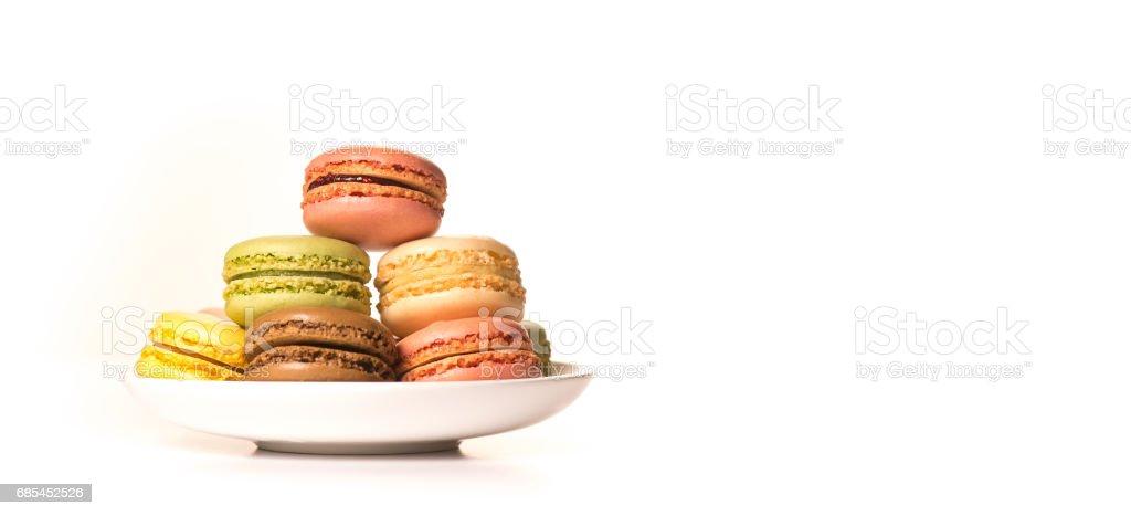 Cake macaron or macaroon isolated on white background, sweet foto de stock royalty-free