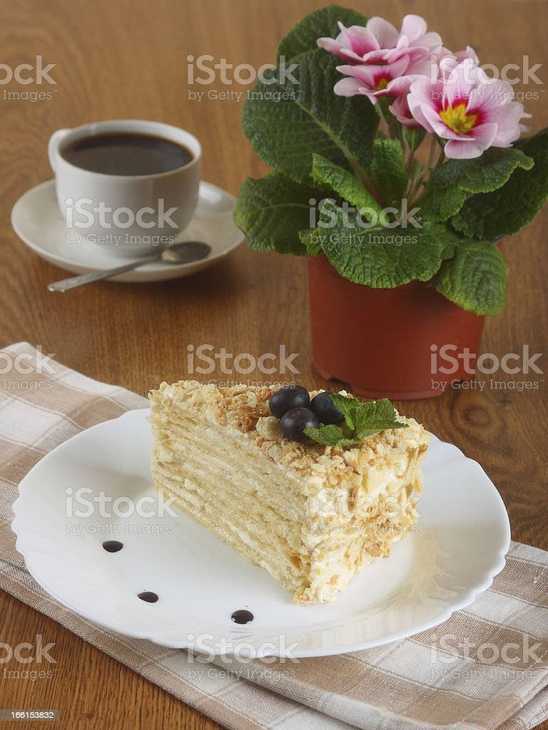 cake napoleon of puff pastry royalty-free stock photo
