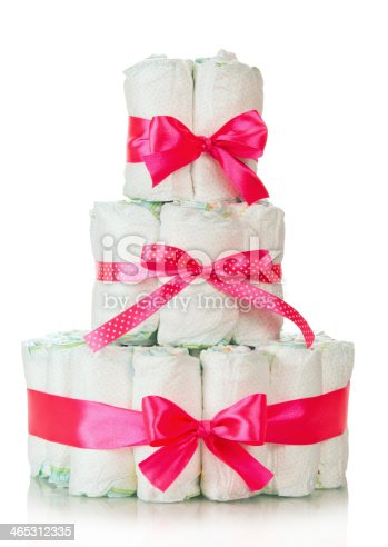 875685464 istock photo Cake of diapers decorated red ribbons 465312335