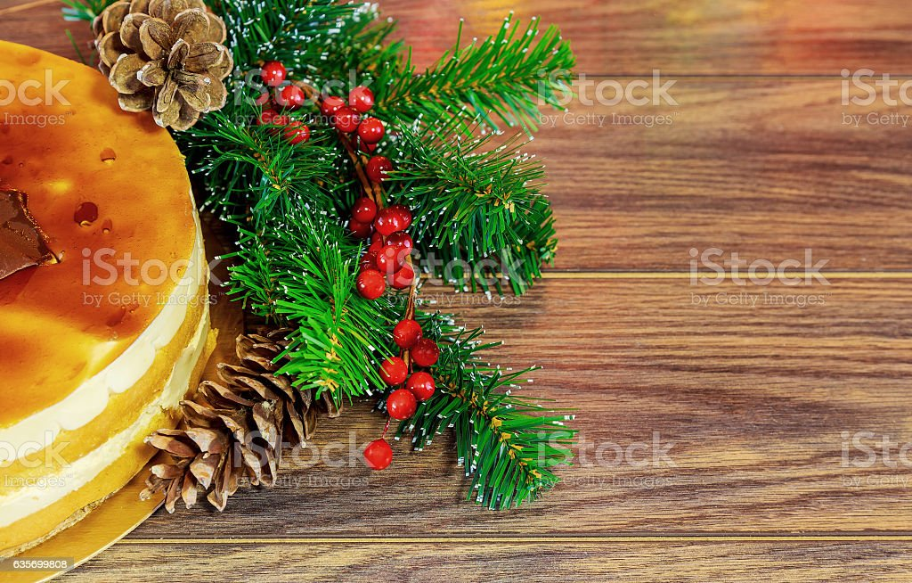 Cake of the whipped white, Christmas decorations, royalty-free stock photo