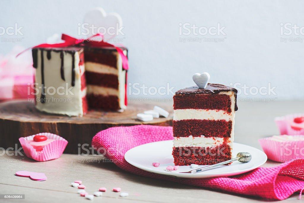 Cake on the pink sackcloth stock photo