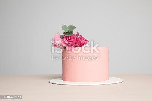 Cake,Pink Color,Birthday Cake,Celebration,Food, Pastel Colors,Rose Decoration,Blue, Background