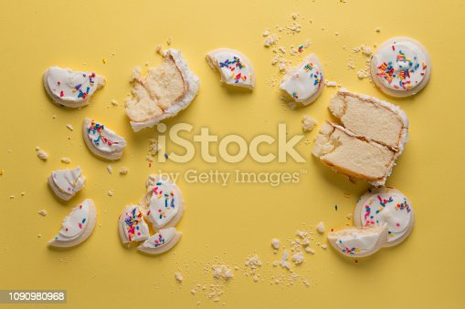 birthday cake and cookies crumbled from above