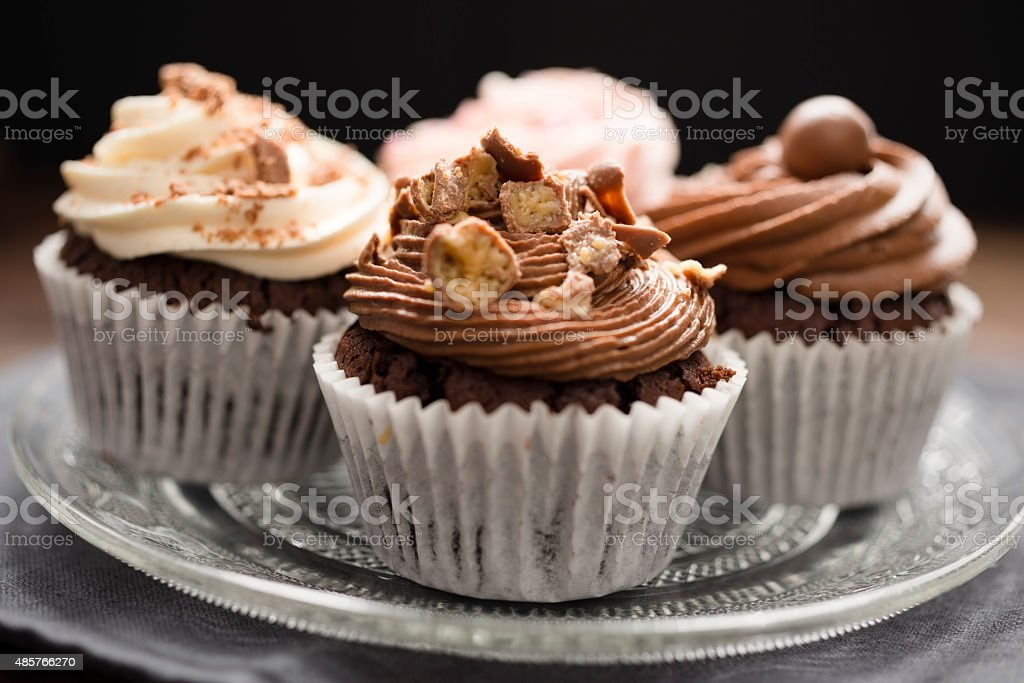 Cake Plate filled with Cupcakes stock photo