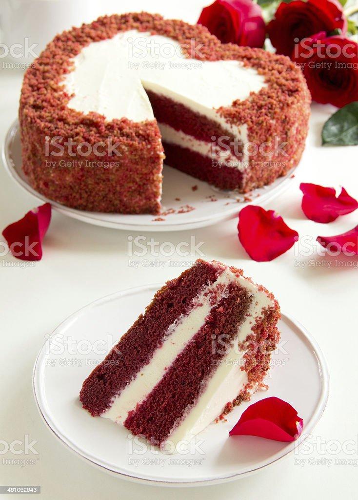 Cake 'Red Velvet' in the form of heart. Valentine's Day. stock photo