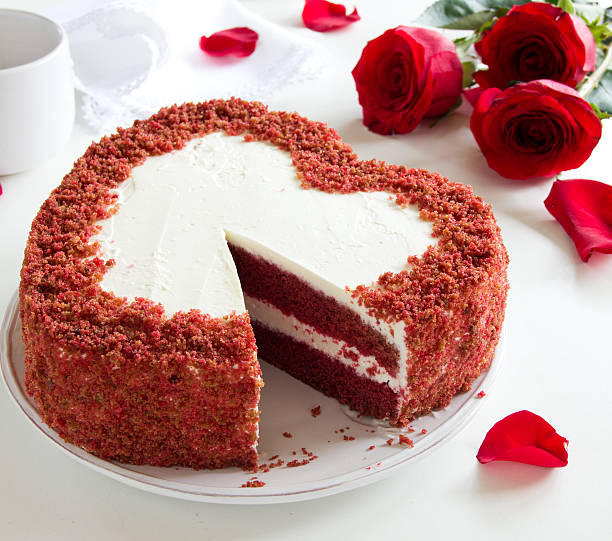 "Cake ""Red Velvet"" in the form of heart. Valentine's Day. stock photo"