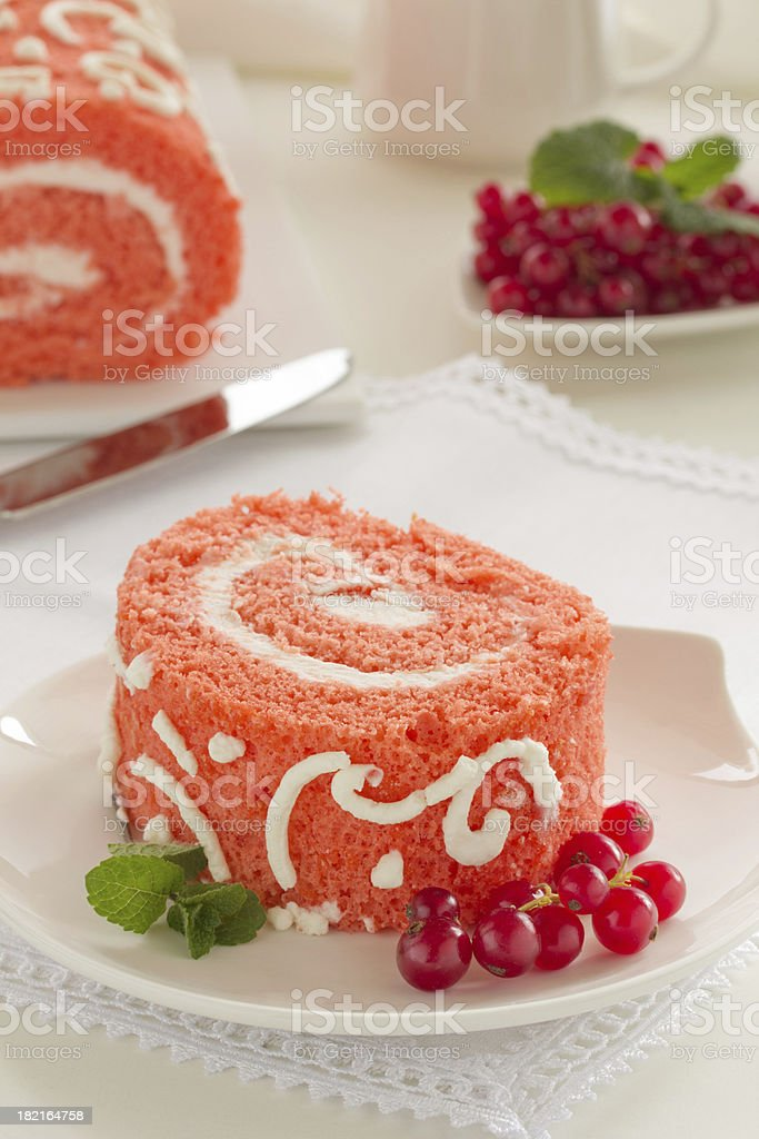 Cake 'Red Velvet' with strawberries. royalty-free stock photo